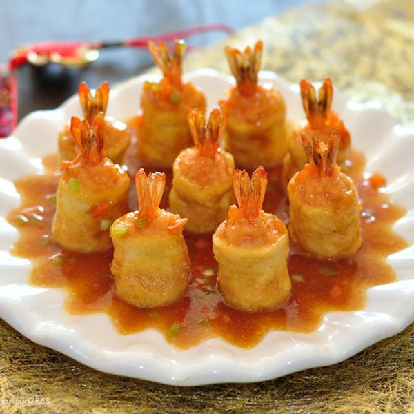 鲜虾黄金盏