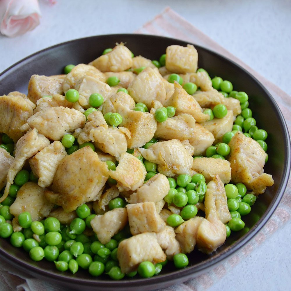 甜豆炒鸡丁