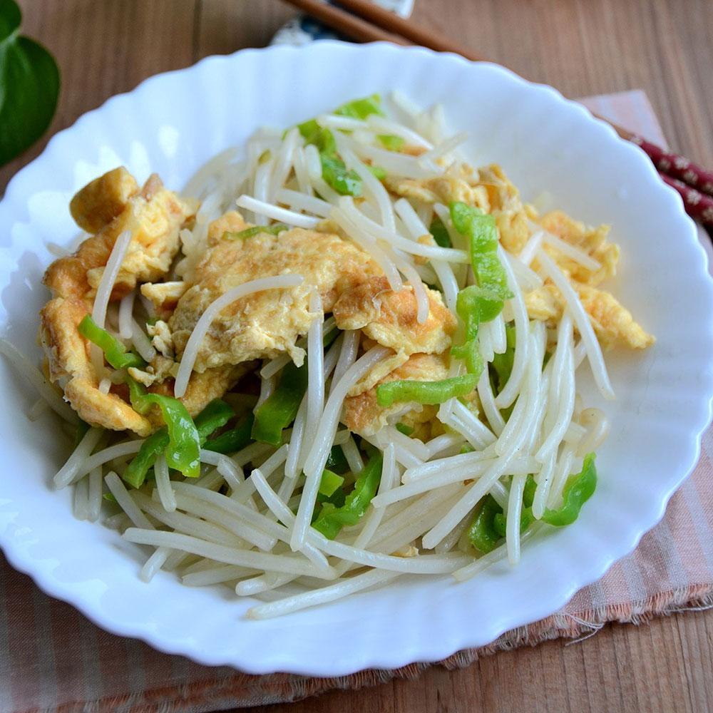 青椒豆芽炒鸡蛋